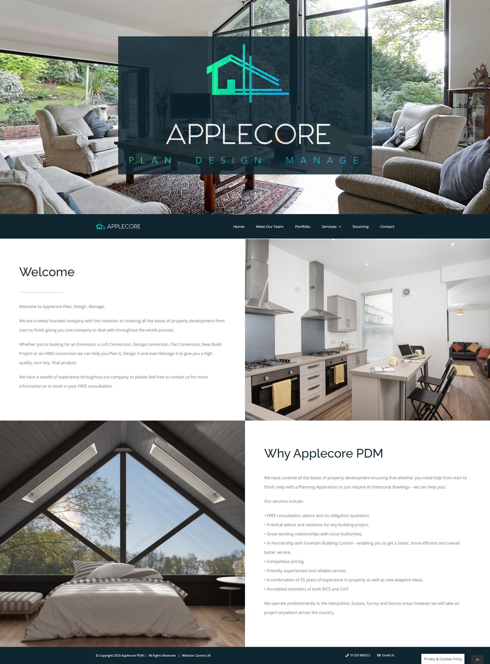 Applecore PDM Website Designed by Carrera UK