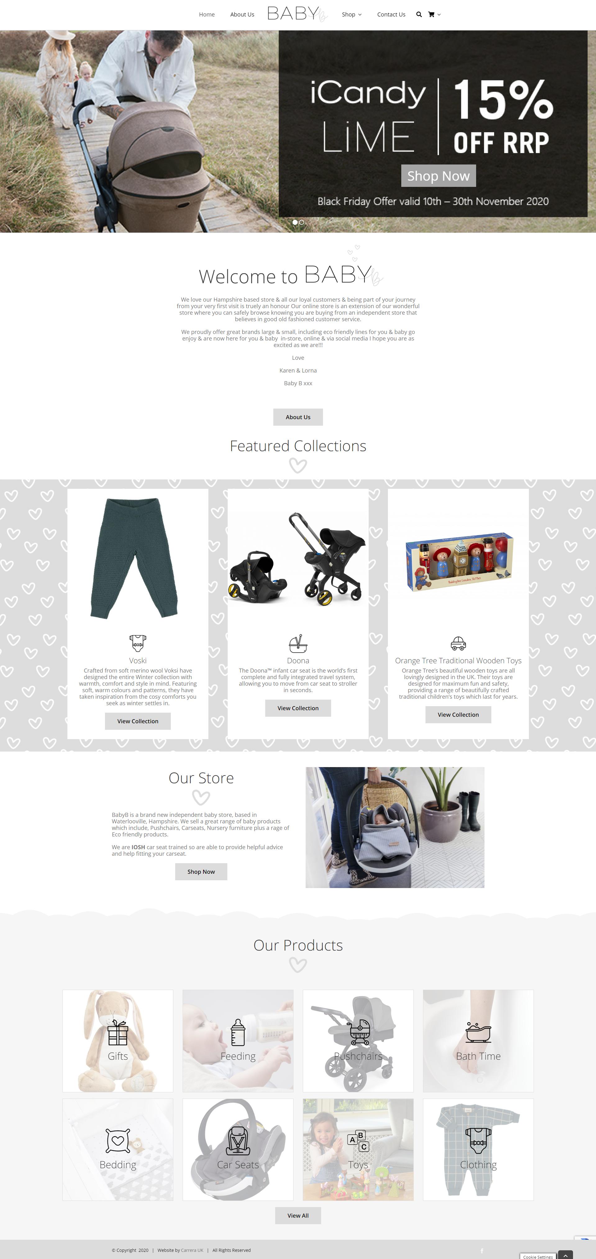 Baby B Store ecommerce Website Designed by Carrera UK