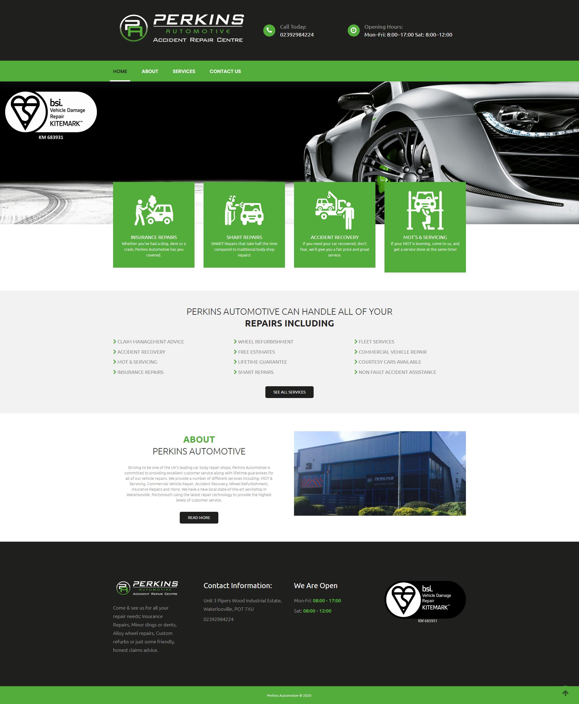 Perkins Auto Website Designed by Carrera UK