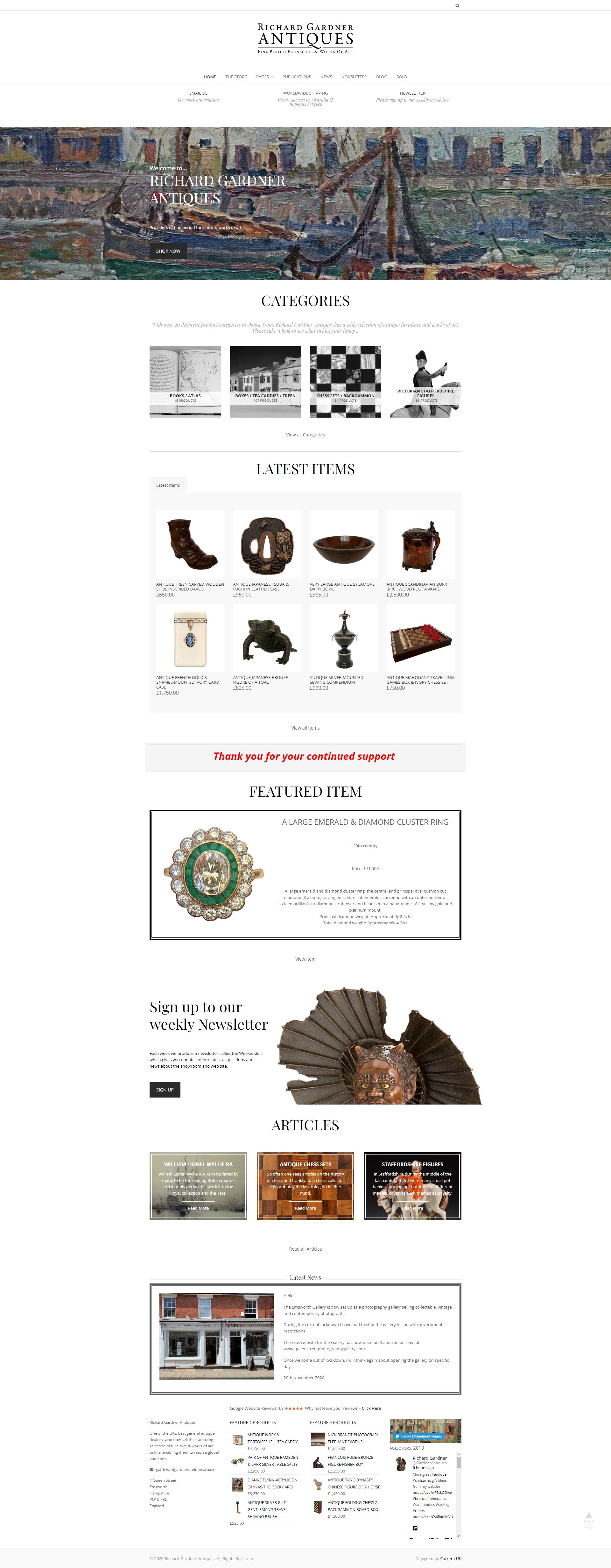 Richard Gardner Antiques Website Designed by Carrera UK