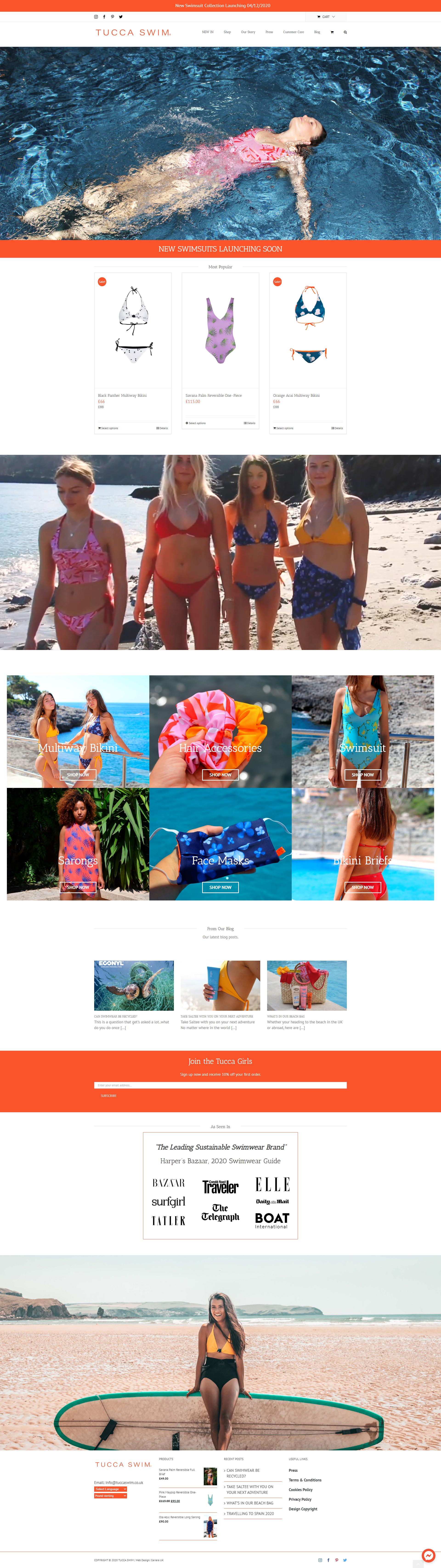 Tucca Swim Website Designed by Carrera UK